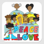 Peace and Love T-shirts and Gifts Square Stickers