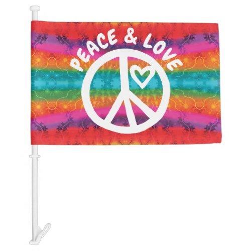 Peace and Love Tie Dye Stripes Car Flag