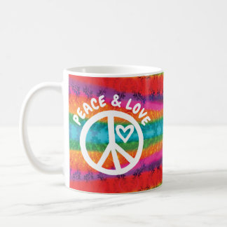 Peace and Love Tie Dye Stripes Coffee Mug