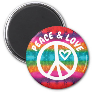 Peace and Love Tie Dye Stripes Magnet