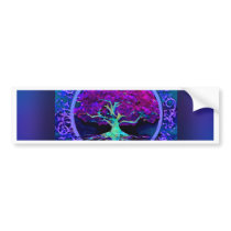 Peace and Love Tree of Life in Blue Bumper Sticker