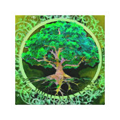 Peace and Love Tree of Life in Green Canvas Print (<em>$87.50</em>)