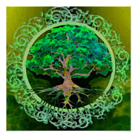 Peace and Love Tree of Life in Green Poster