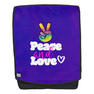 Peace and Love Typography Rainbow Hand Peace Sign Backpack