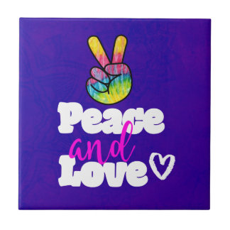 Peace and Love Typography Rainbow Hand Peace Sign Ceramic Tile