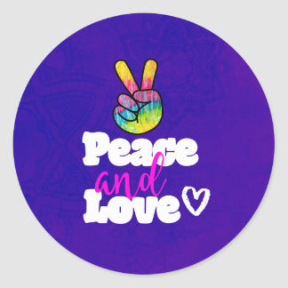 Peace and Love Typography Rainbow Hand Peace Sign Classic Round Sticker