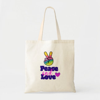 Peace and Love Typography Rainbow Hand Peace Sign Tote Bag