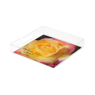 Peace and Love Yellow Rose Monograms Serving Tray