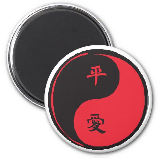 Peace and Love Yinyang Fridge Magnets