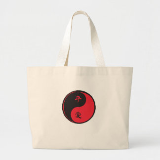Peace and Love Yinyang Large Tote Bag