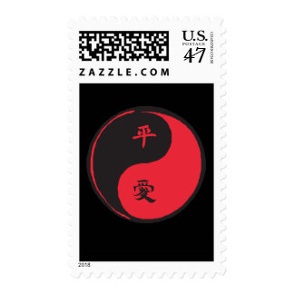 Peace and Love Yinyang Postage Stamp