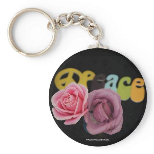 Peace and Roses-Keychain zazzle_keychain
