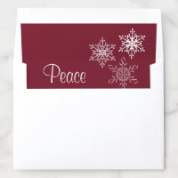 Peace and Three Snowflakes Minimal Red and White Envelope Liner