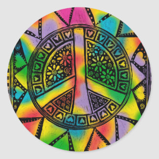 Peace and Tie Dye, Hippie Art, Summer, Sticker