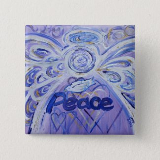 Peace Angel Art Button Pin Pendant (Square)
