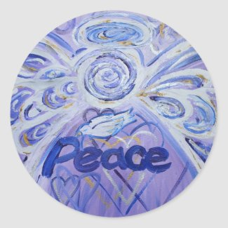 Peace Angel Inspirational Word Art Custom Stickers