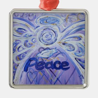 Peace Angel Word Art Gift Holiday Ornaments