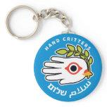 Hand shaped Peace Arabic Hebrew keychain