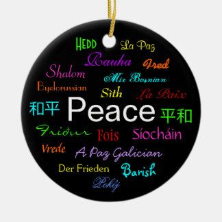 Peace Around the World In Black Ceramic Ornament