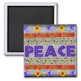 Peace Art 2 Inch Square Magnet