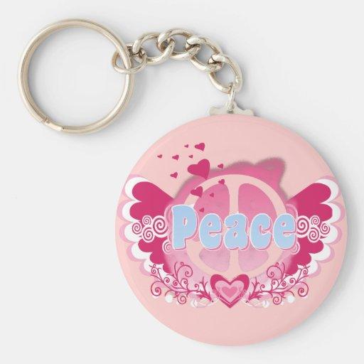 Peace Art Graphic Basic Round Button Keychain