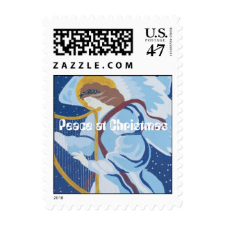 Peace at Christmas, Angel in blue with harp Postage