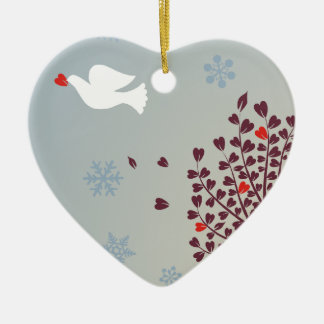 Peace at Christmas Double-Sided Heart Ceramic Christmas Ornament