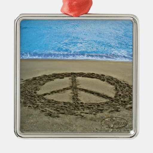 peace at the ocean square metal christmas ornament