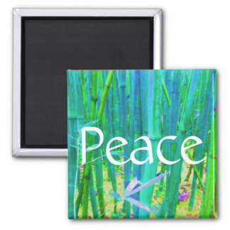 Peace Bamboo Blue and Green 2 Inch Square Magnet