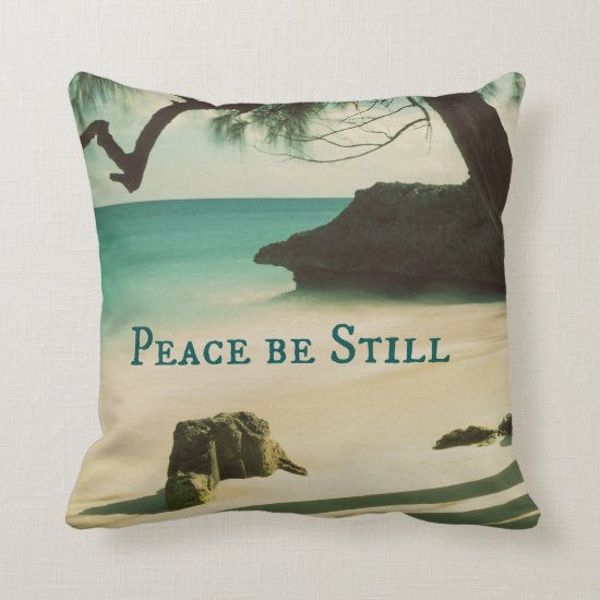 Peace Be Still Bible Verse with Ocean Throw Pillow