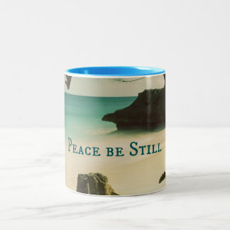 Peace Be Still Bible Verse with Ocean Two-Tone Coffee Mug