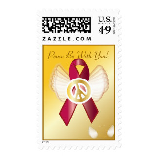 Peace Be With You! AIDS/HIV Heart D Ribbon Postage