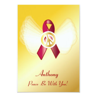 "Peace Be With You! AIDS/HIV Heart Disease Ribbon 5"" X 7"" Invitation Card"