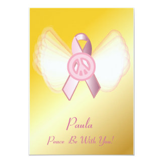 "Peace Be With You! Breast Cancer Ribbon-Customize 5"" X 7"" Invitation Card"