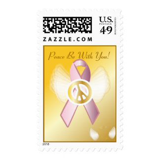 Peace Be With You! Breast Cancer Ribbon Postage