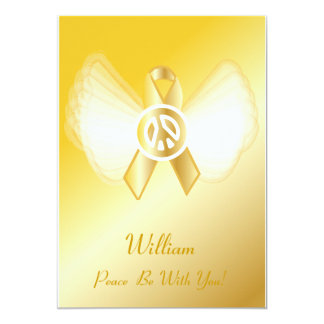 "Peace Be With You! Childhood Cancer Ribbon-Cust. 5"" X 7"" Invitation Card"