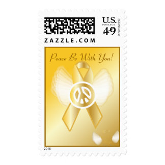 Peace Be With You! Childhood Cancer Ribbon Postage