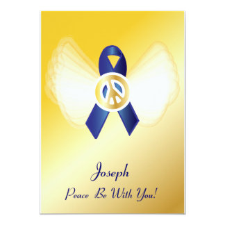 "Peace Be With You! Colon Cancer Ribbon-Customize 5"" X 7"" Invitation Card"