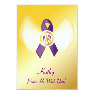 "Peace Be With You! General Cancer Ribbon-Customize 5"" X 7"" Invitation Card"