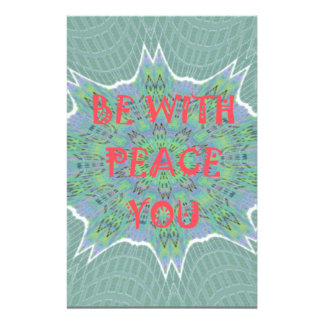 Peace Be With You Inspirational Graphic Art Text Stationery