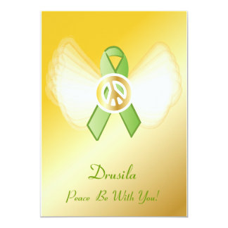 "Peace Be With You! Lymphoma Ribbon-Customize 5"" X 7"" Invitation Card"