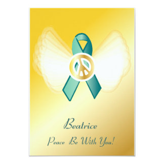 "Peace Be With You! Ovarian Cancer Ribbon-Cust. 5"" X 7"" Invitation Card"