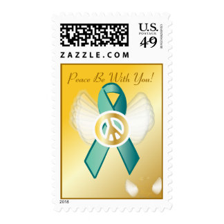 Peace Be With You! Ovarian Cancer Ribbon Postage