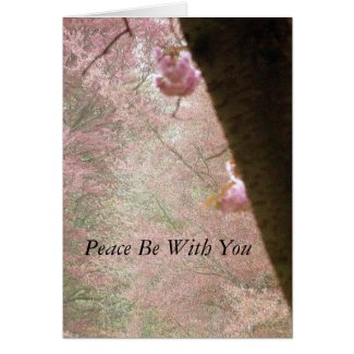 Peace Be With You Pink Blossom Card