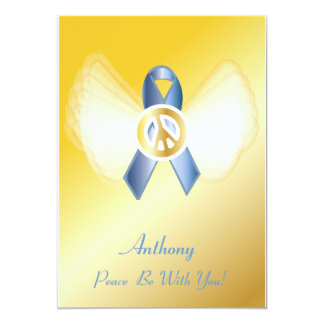 "Peace Be With You! Prostate Cancer Ribbon-Cust. 5"" X 7"" Invitation Card"