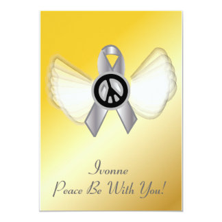 "Peace Be With YouLung Brain Cancer Ribbon-Cust. 5"" X 7"" Invitation Card"