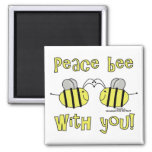 Peace Bee With You 2 Inch Square Magnet