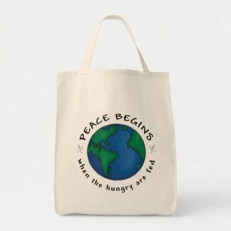 Peace Begins Grocery Tote Bag