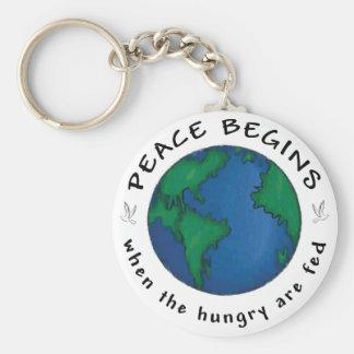 Peace Begins Basic Round Button Keychain