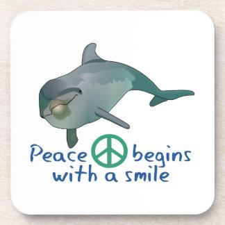 PEACE BEGINS BEVERAGE COASTERS